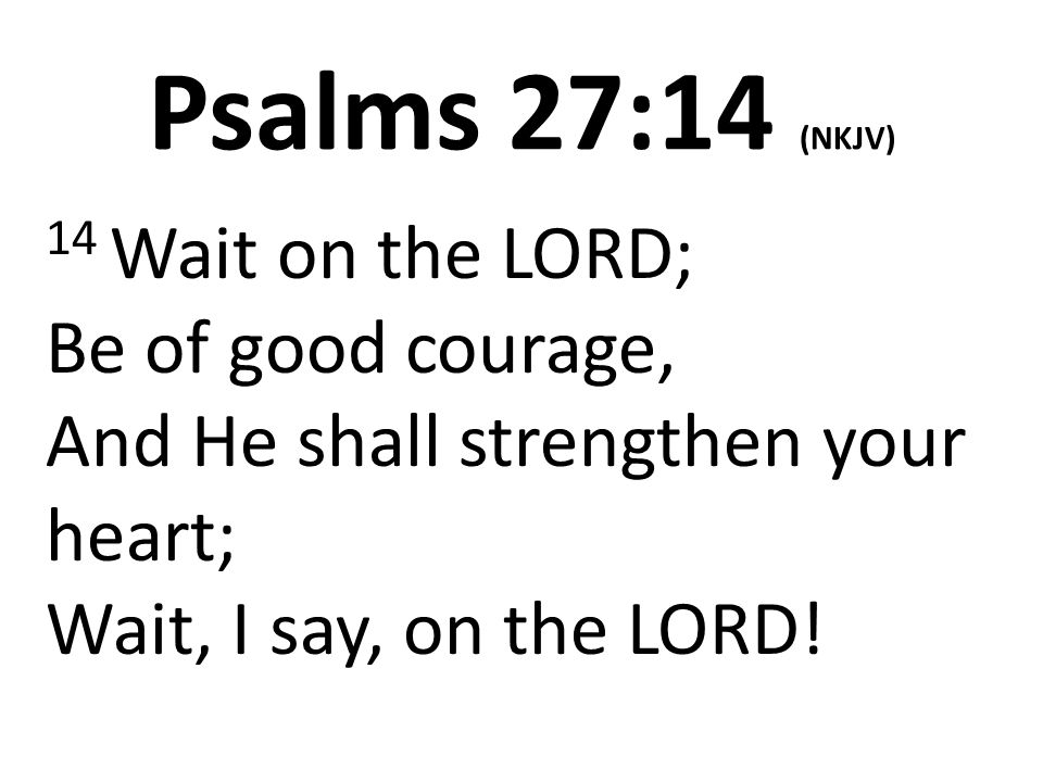 PSALM 27:14 The Waiting Game