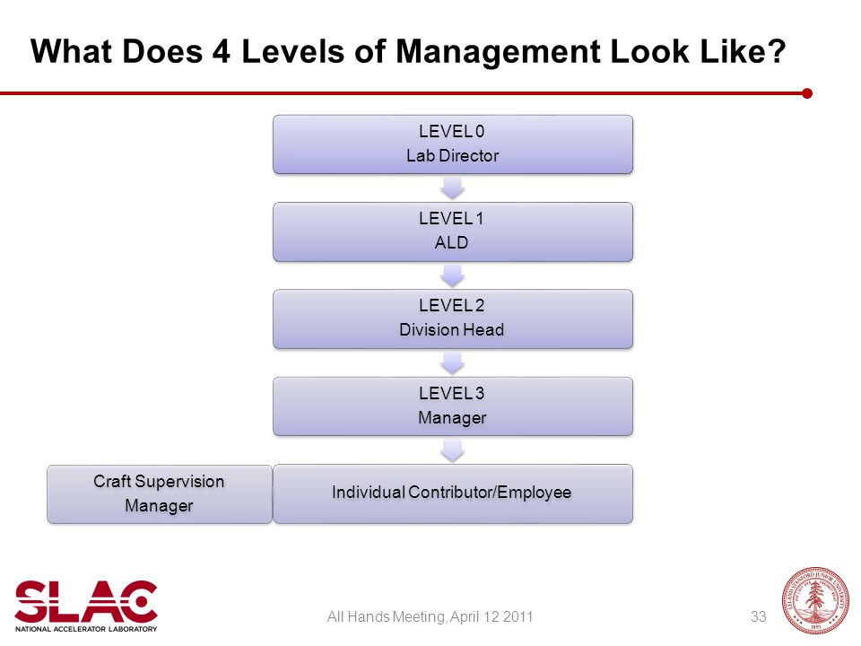 What Does 4 Levels of Management Look Like? LEVEL 0 Lab Director LEVEL 1 ALD LEVEL 2 Division Head LEVEL 3 Manager Individual Contributor/Employee Cra