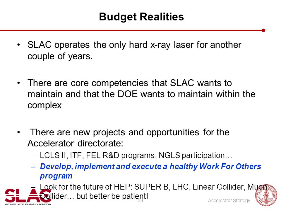 Budget Realities SLAC operates the only hard x-ray laser for another couple of years.