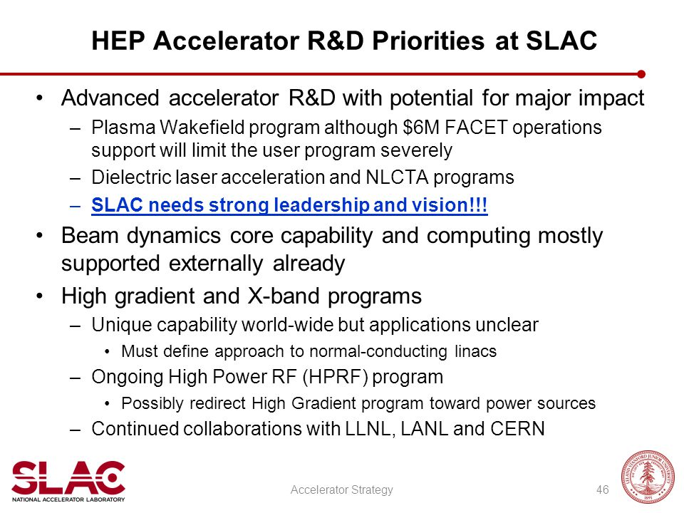 HEP Accelerator R&D Priorities at SLAC Advanced accelerator R&D with potential for major impact –Plasma Wakefield program although $6M FACET operation