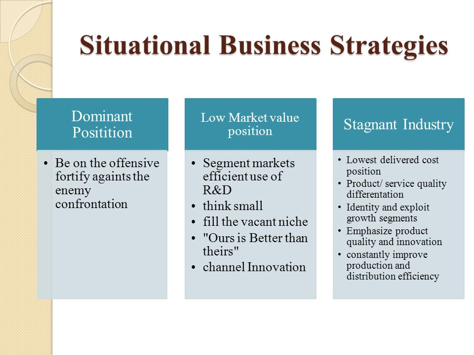 Situational Business Strategies Dominant Positition Be on the offensive fortify againts the enemy confrontation Low Market value position Segment mark