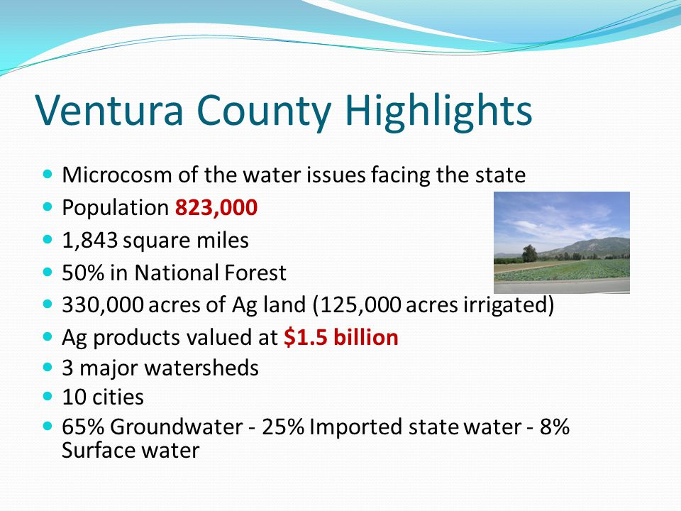 Ventura County Highlights Microcosm of the water issues facing the state Population 823,000 1,843 square miles 50% in National Forest 330,000 acres of Ag land (125,000 acres irrigated) Ag products valued at $1.5 billion 3 major watersheds 10 cities 65% Groundwater - 25% Imported state water - 8% Surface water