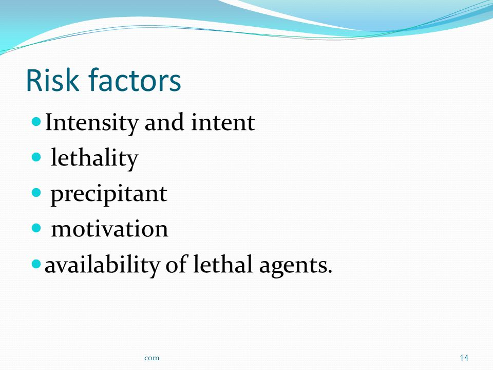 Risk factors Intensity and intent lethality precipitant motivation availability of lethal agents.