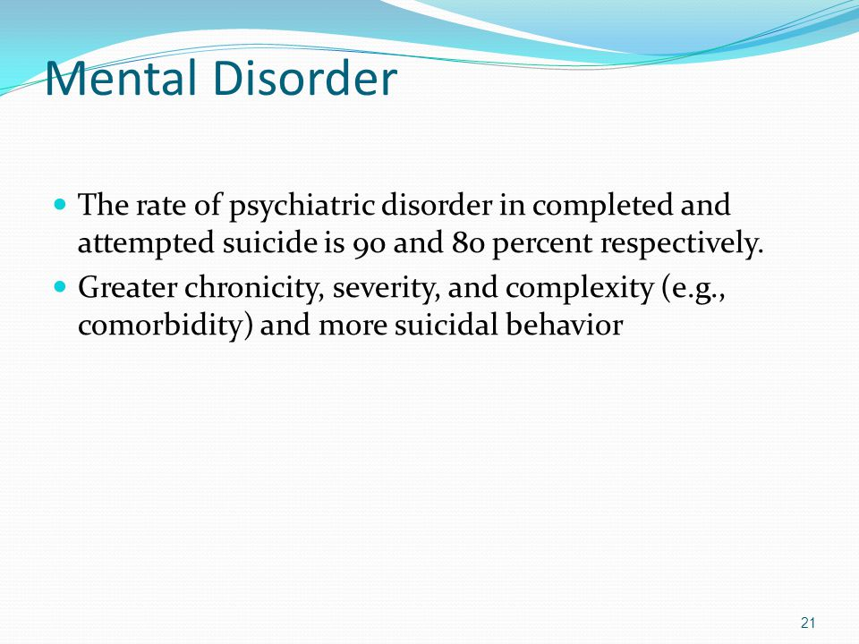 Mental Disorder The rate of psychiatric disorder in completed and attempted suicide is 90 and 80 percent respectively.