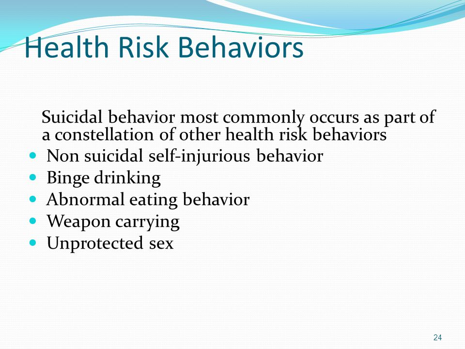 Health Risk Behaviors Suicidal behavior most commonly occurs as part of a constellation of other health risk behaviors Non suicidal self-injurious behavior Binge drinking Abnormal eating behavior Weapon carrying Unprotected sex 24