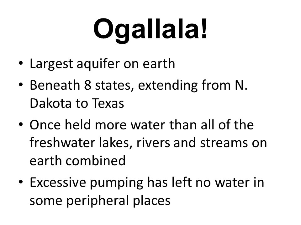 Groundwater Depletion Aquifer recharge can take thousands of years Depletion Examples: Cone of Depression Saltwater Intrusion Subsidence / Sinkholes