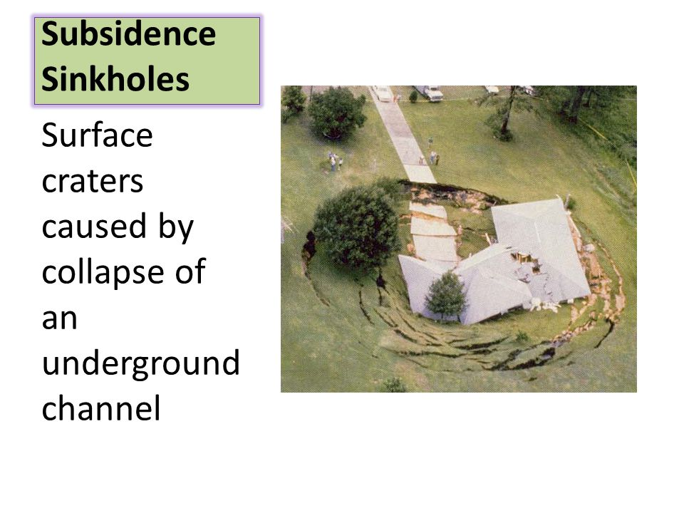 Subsidence Sinkholes Surface craters caused by collapse of an underground channel