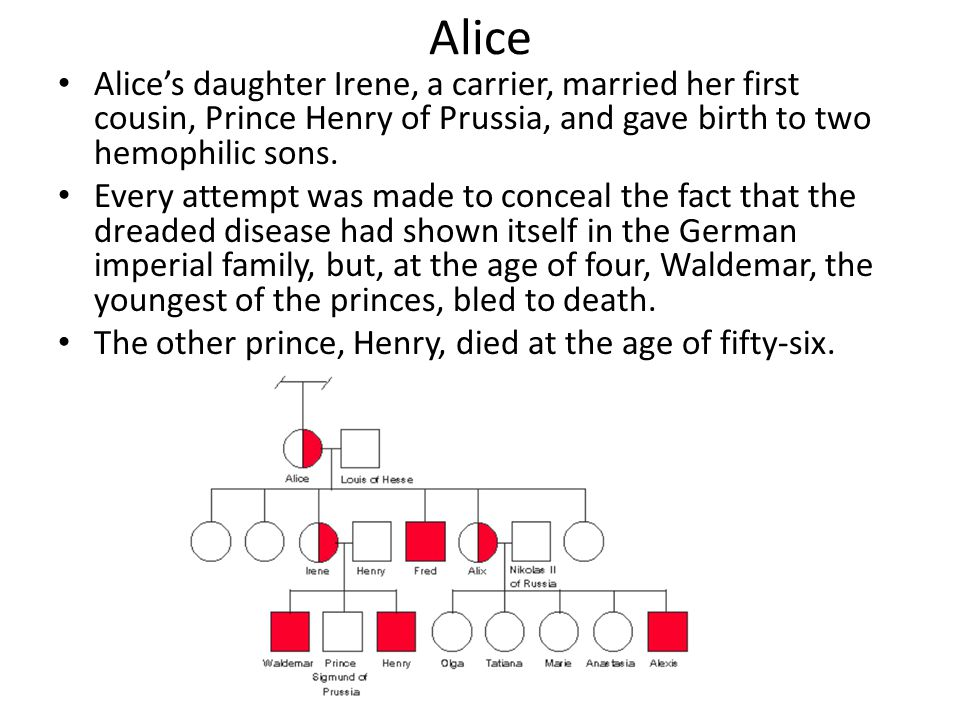 Alice Alice's daughter Irene, a carrier, married her first cousin, Prince Henry of Prussia, and gave birth to two hemophilic sons. Every attempt was m