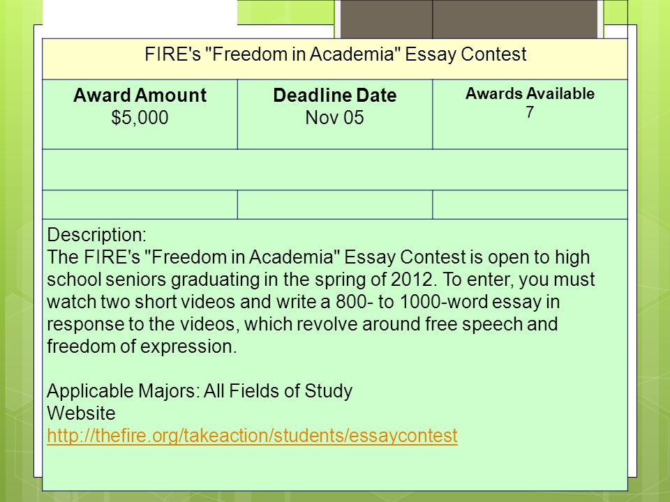 Bridgestone Safety Scholars Video Contest Award Amount $10,000 Deadline Date June 24 Awards Available 3 For my class- this involves a detailed script as well as a video.
