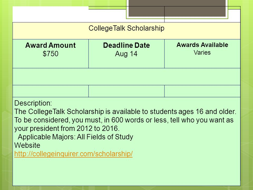 CollegeTalk Scholarship Award Amount $750 Deadline Date Aug 14 Awards Available Varies Description: The CollegeTalk Scholarship is available to students ages 16 and older.