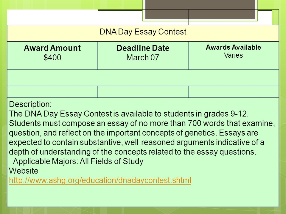 dna day essay contest 2012