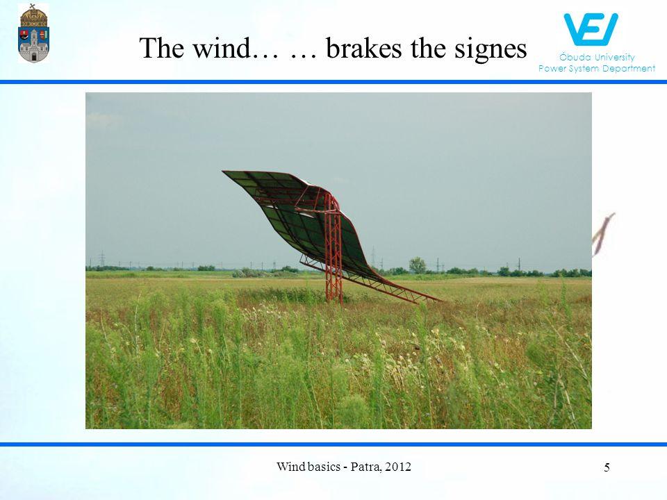 Óbuda University Power System Department Small wind Wind basics - Patra, 2012 66