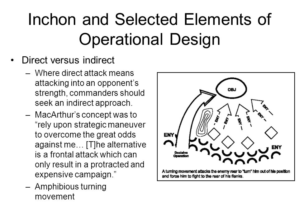 Inchon and Selected Elements of Operational Design Direct versus indirect –Where direct attack means attacking into an opponent's strength, commanders should seek an indirect approach.