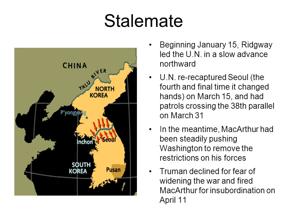 Stalemate Beginning January 15, Ridgway led the U.N.