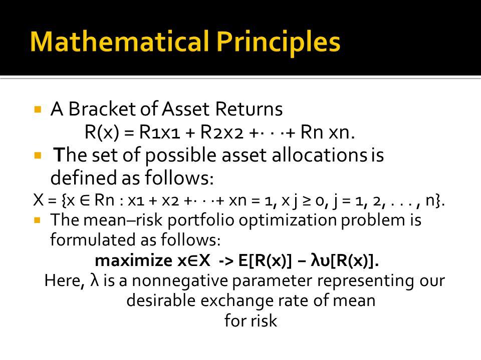  A Bracket of Asset Returns R(x) = R1x1 + R2x2 +· · ·+ Rn xn.