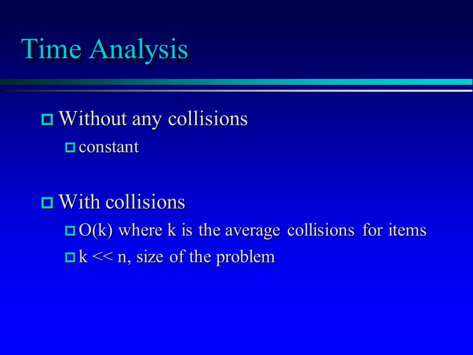 Time Analysis p Without any collisions p constant p With collisions p O(k) where k is the average collisions for items p k << n, size of the problem