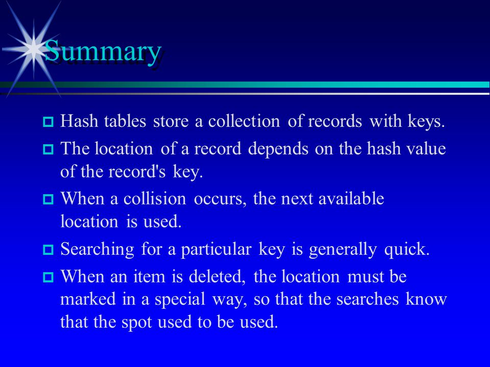 p p Hash tables store a collection of records with keys. p p The location of a record depends on the hash value of the record's key. p p When a collis