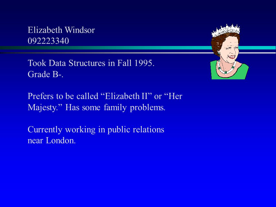 "Elizabeth Windsor 092223340 Took Data Structures in Fall 1995. Grade B-. Prefers to be called ""Elizabeth II"" or ""Her Majesty."" Has some family problem"