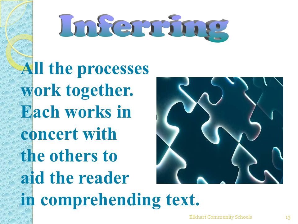 Elkhart Community Schools13 All the processes work together. Each works in concert with the others to aid the reader in comprehending text.