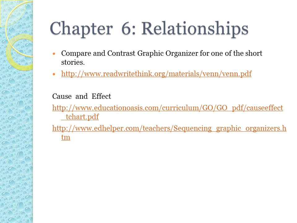 Chapter 6: Relationships Compare and Contrast Graphic Organizer for one of the short stories.