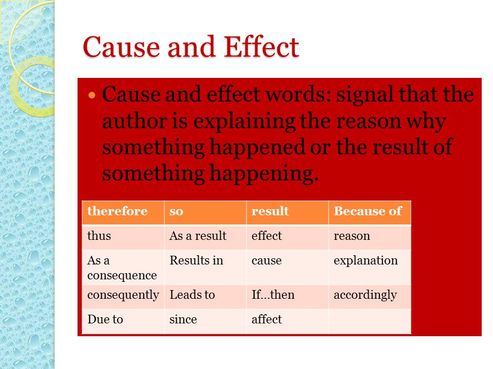Cause and Effect Cause and effect words: signal that the author is explaining the reason why something happened or the result of something happening.