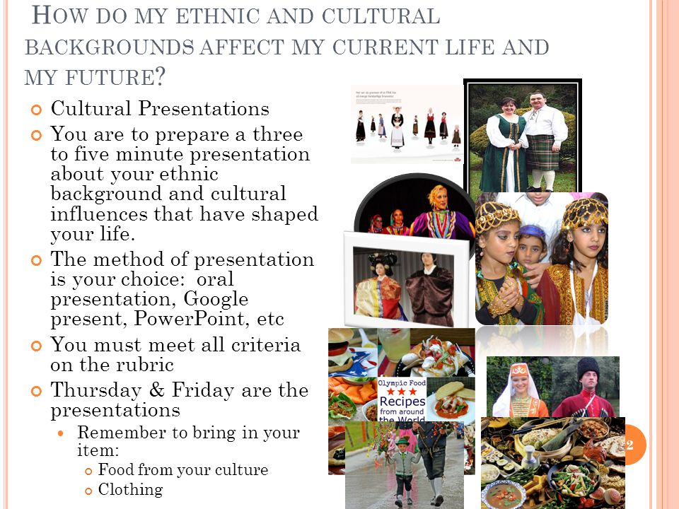 H OW DO MY ETHNIC AND CULTURAL BACKGROUNDS AFFECT MY CURRENT LIFE AND MY FUTURE .