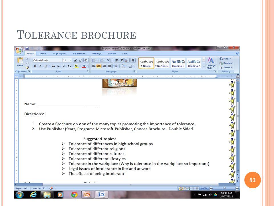 T OLERANCE BROCHURE 53