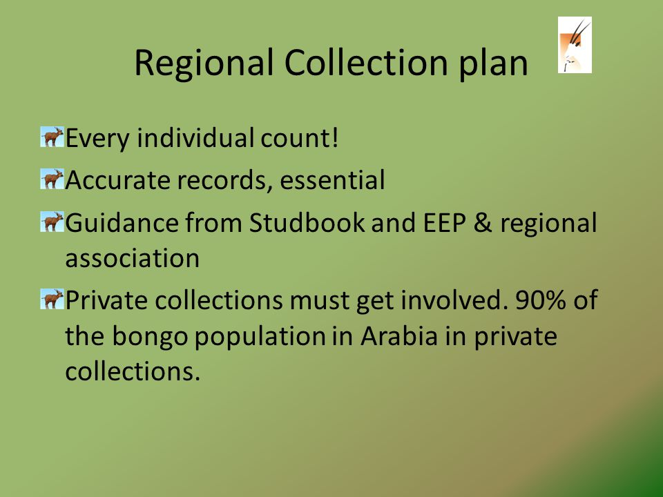 Regional Collection plan Every individual count.