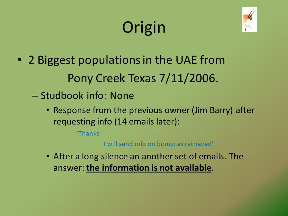 Origin 2 Biggest populations in the UAE from Pony Creek Texas 7/11/2006.