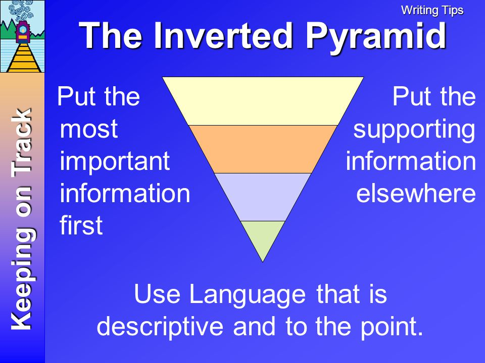 The Inverted Pyramid Put the most important information first Keeping on Track Put the supporting information elsewhere Writing Tips Use Language that is descriptive and to the point.