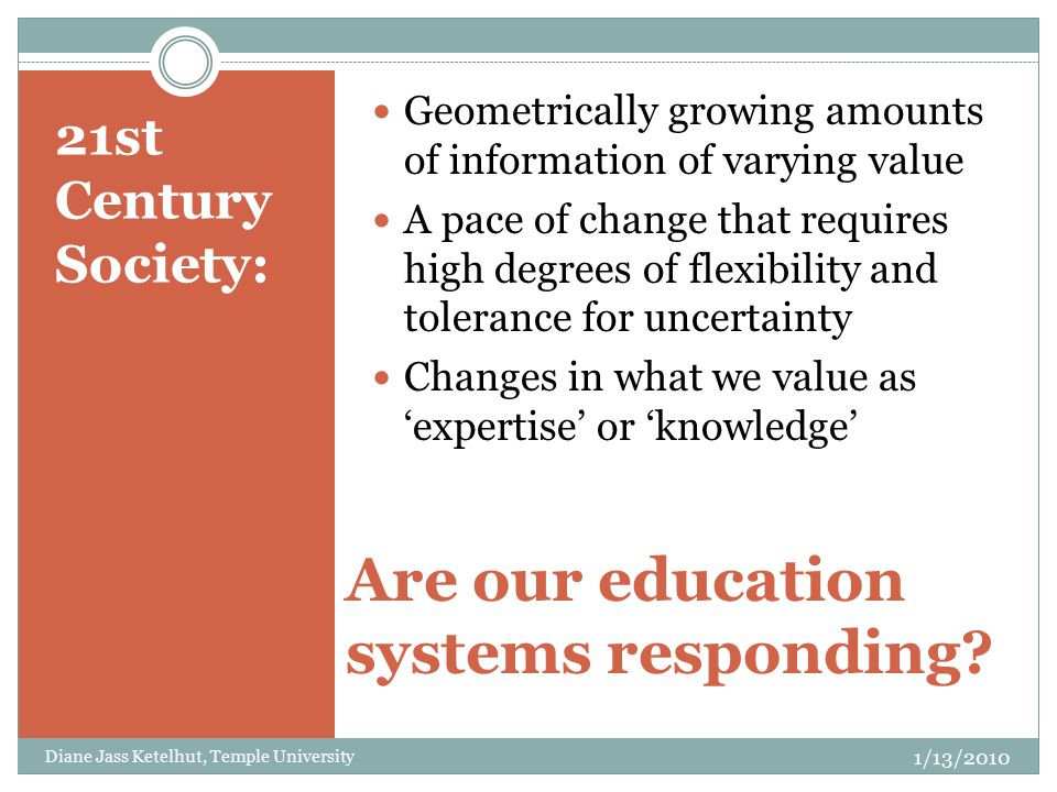21st Century Society: Are our education systems responding.