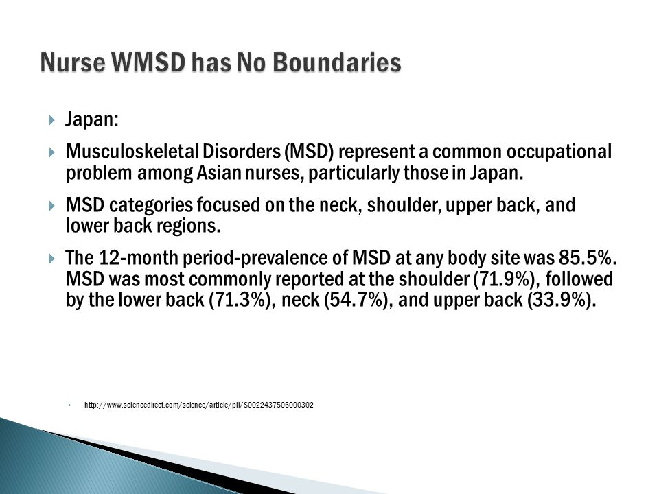  Japan:  Musculoskeletal Disorders (MSD) represent a common occupational problem among Asian nurses, particularly those in Japan.