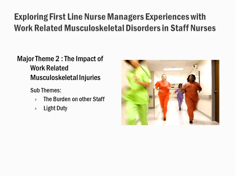 Major Theme 2 : The Impact of Work Related Musculoskeletal Injuries Sub Themes:  The Burden on other Staff  Light Duty