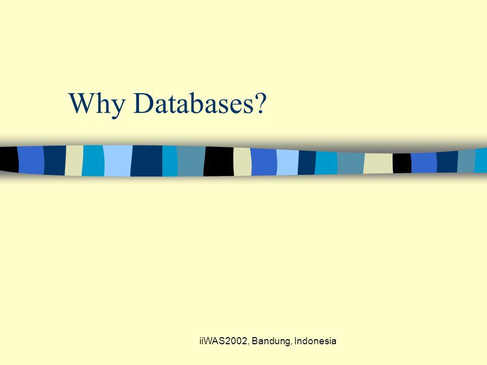 iiWAS2002, Bandung, Indonesia Why Databases?