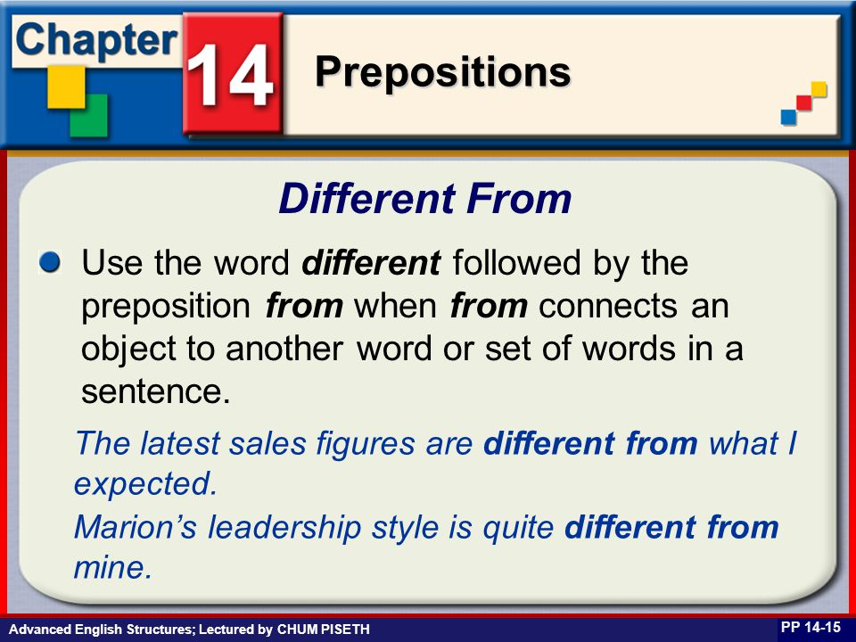Business English at Work Prepositions Advanced English Structures; Lectured by CHUM PISETH Different From PP 14-15 Use the word different followed by the preposition from when from connects an object to another word or set of words in a sentence.