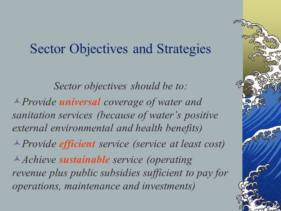 Sector Objectives and Strategies Sector objectives should be to: Provide universal coverage of water and sanitation services (because of water's positive external environmental and health benefits) Provide efficient service (service at least cost) Achieve sustainable service (operating revenue plus public subsidies sufficient to pay for operations, maintenance and investments)