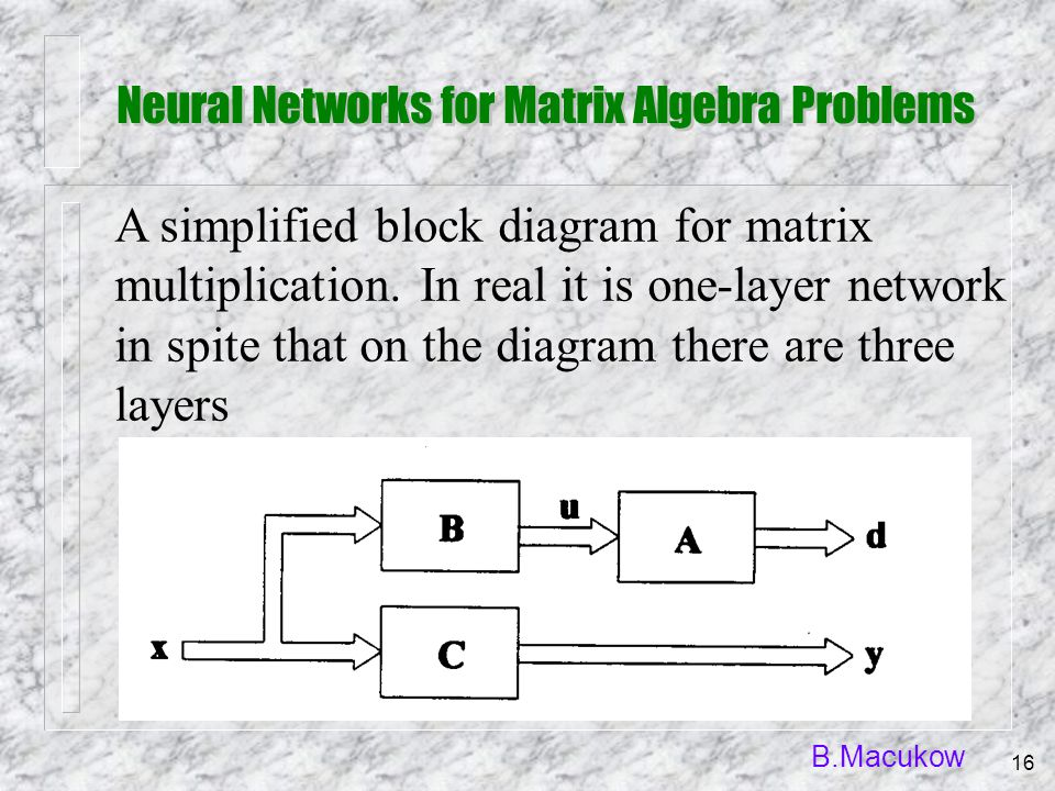 B.Macukow 16 A simplified block diagram for matrix multiplication. In real it is one-layer network in spite that on the diagram there are three layers