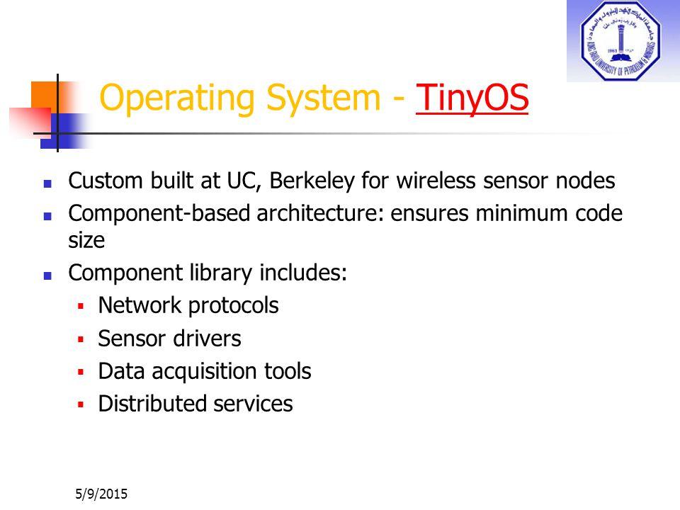 5/9/2015 Operating System - TinyOSTinyOS Custom built at UC, Berkeley for wireless sensor nodes Component-based architecture: ensures minimum code siz
