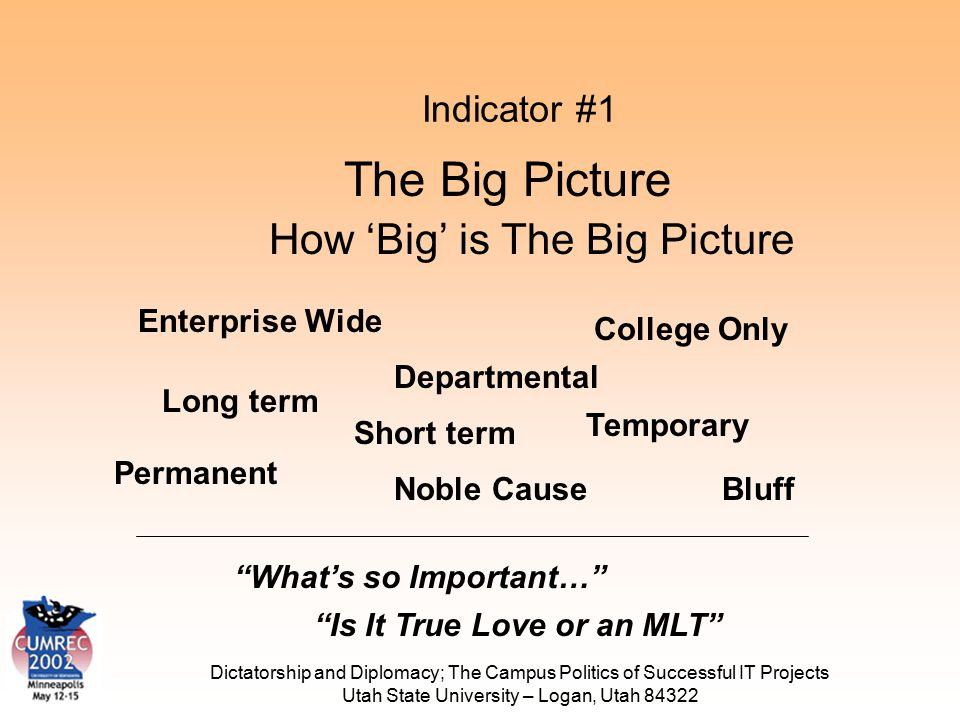 Dictatorship and Diplomacy; The Campus Politics of Successful IT Projects Utah State University – Logan, Utah 84322 Indicator #1 How 'Big' is The Big