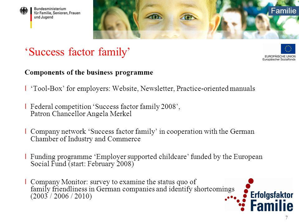 Familie 7 'Success factor family' Components of the business programme I 'Tool-Box' for employers: Website, Newsletter, Practice-oriented manuals I Fe
