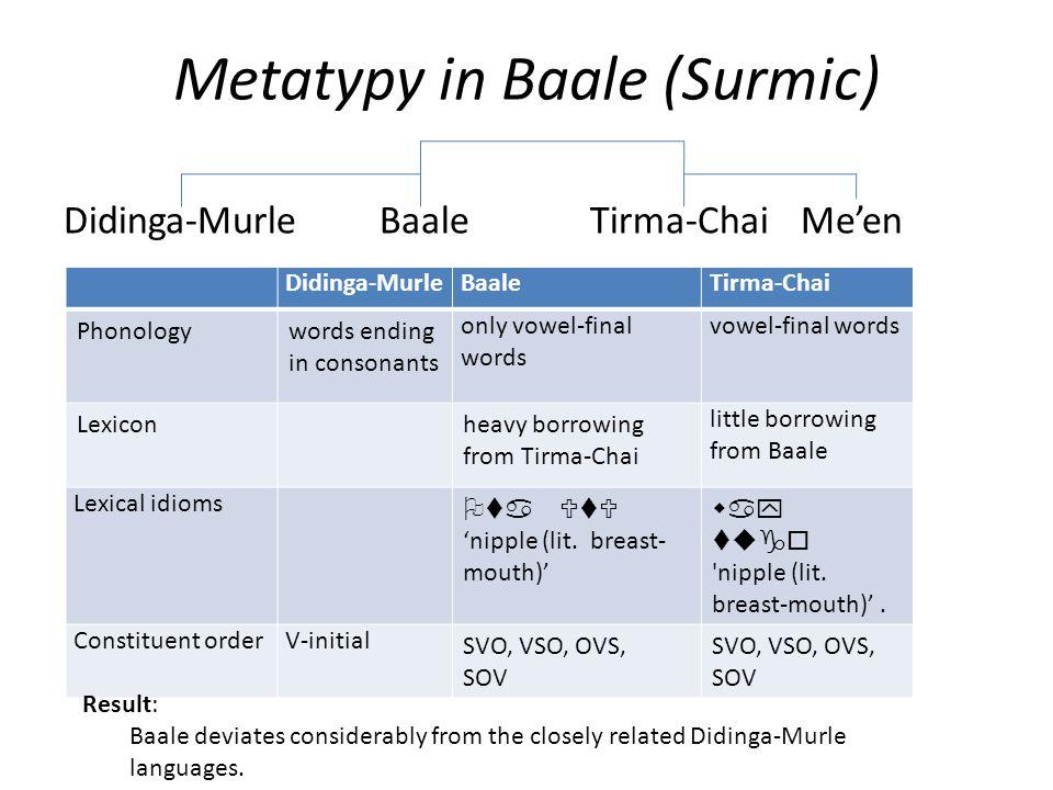 Metatypy in Baale (Surmic) Didinga-MurleBaaleTirma-ChaiMe'en Didinga-MurleBaaleTirma-Chai Phonologywords ending in consonants only vowel-final words vowel-final words Lexiconheavy borrowing from Tirma-Chai little borrowing from Baale Lexical idioms Ota UtU 'nipple (lit.