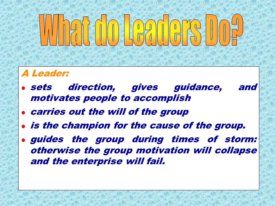 A Leader: knows what they want, why they want it, and how to communicate to others what they want recognizes and praises good work, gives credit to others, makes everyone feel important