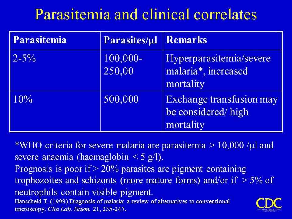 Parasitemia and clinical correlates Parasitemia Parasites/  l Remarks 2-5%100,000- 250,00 Hyperparasitemia/severe malaria*, increased mortality 10%50