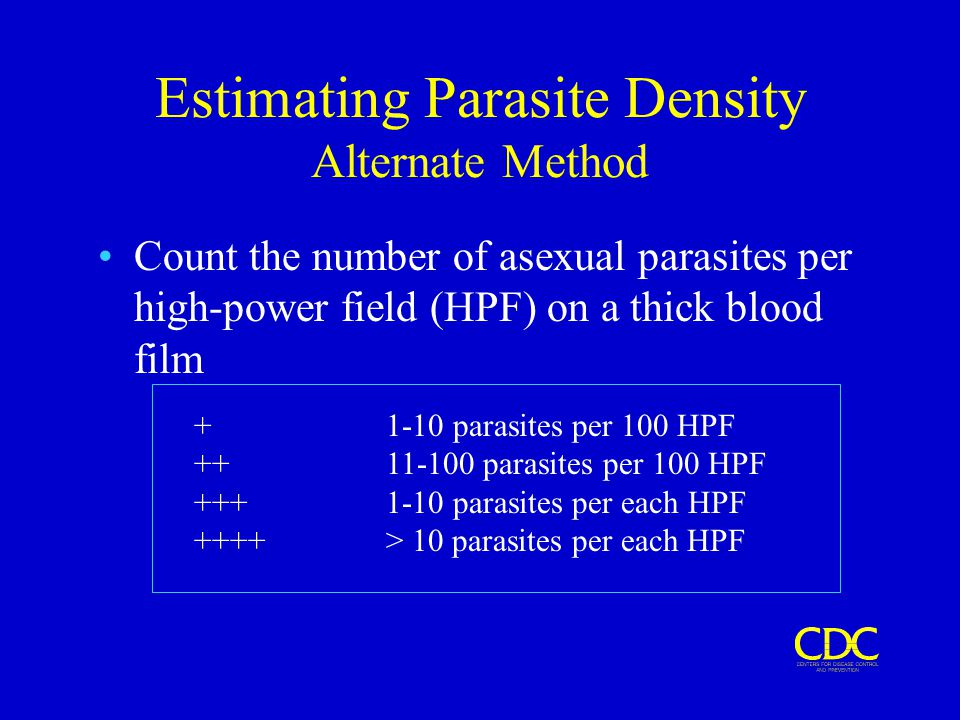 Estimating Parasite Density Alternate Method Count the number of asexual parasites per high-power field (HPF) on a thick blood film + 1-10 parasites p