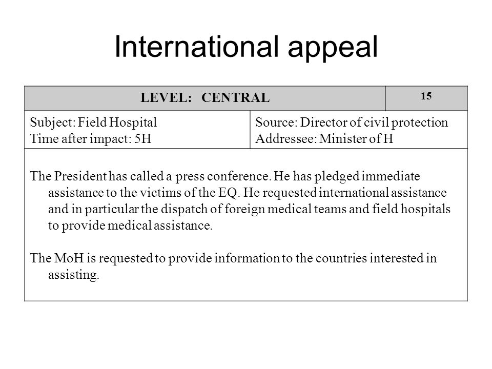 International appeal LEVEL: CENTRAL 15 Subject: Field Hospital Time after impact: 5H Source: Director of civil protection Addressee: Minister of H The President has called a press conference.