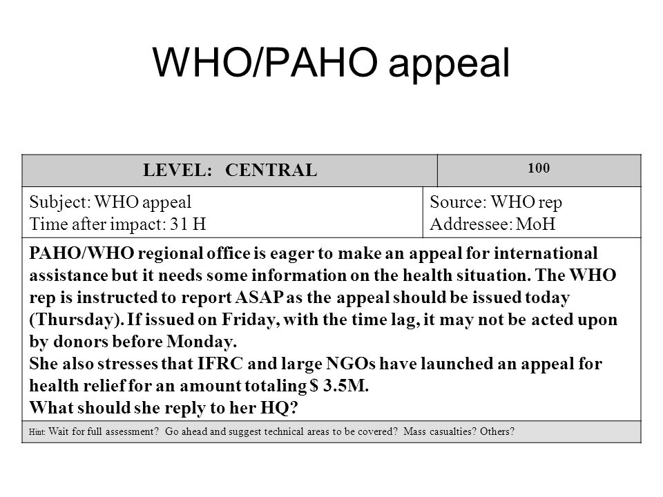WHO/PAHO appeal LEVEL: CENTRAL 100 Subject: WHO appeal Time after impact: 31 H Source: WHO rep Addressee: MoH PAHO/WHO regional office is eager to make an appeal for international assistance but it needs some information on the health situation.