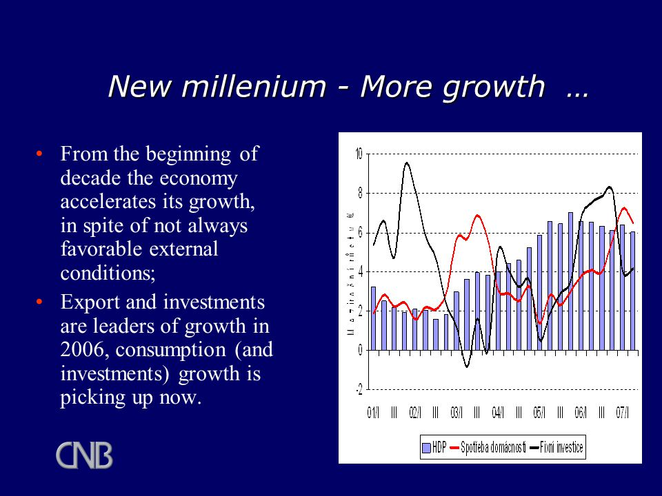 New millenium - More growth … From the beginning of decade the economy accelerates its growth, in spite of not always favorable external conditions; Export and investments are leaders of growth in 2006, consumption (and investments) growth is picking up now.
