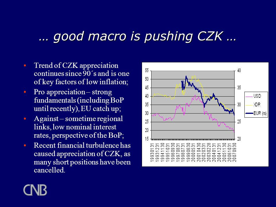 … good macro is pushing CZK … Trend of CZK appreciation continues since 90´s and is one of key factors of low inflation; Pro appreciation – strong fundamentals (including BoP until recently), EU catch up; Against – sometime regional links, low nominal interest rates, perspective of the BoP; Recent financial turbulence has caused appreciation of CZK, as many short positions have been cancelled.