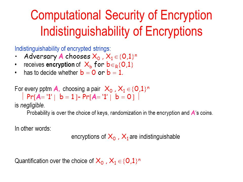 Computational Security of Encryption Indistinguishability of Encryptions Indistinguishability of encrypted strings: Adversary A chooses X 0, X 1  0,1  n receives encryption of X b for b  R  0,1  has to decide whether b  0 or b  1.