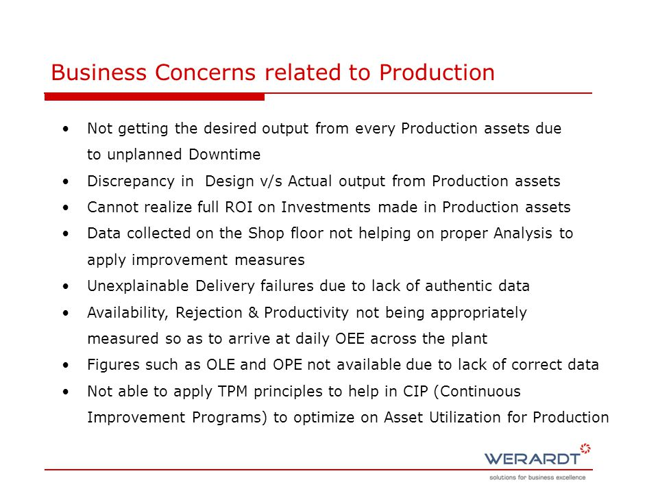 Not getting the desired output from every Production assets due to unplanned Downtime Discrepancy in Design v/s Actual output from Production assets Cannot realize full ROI on Investments made in Production assets Data collected on the Shop floor not helping on proper Analysis to apply improvement measures Unexplainable Delivery failures due to lack of authentic data Availability, Rejection & Productivity not being appropriately measured so as to arrive at daily OEE across the plant Figures such as OLE and OPE not available due to lack of correct data Not able to apply TPM principles to help in CIP (Continuous Improvement Programs) to optimize on Asset Utilization for Production Business Concerns related to Production